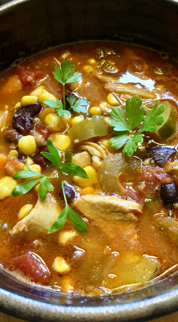 One Pot Mexican Chicken Chili Soup