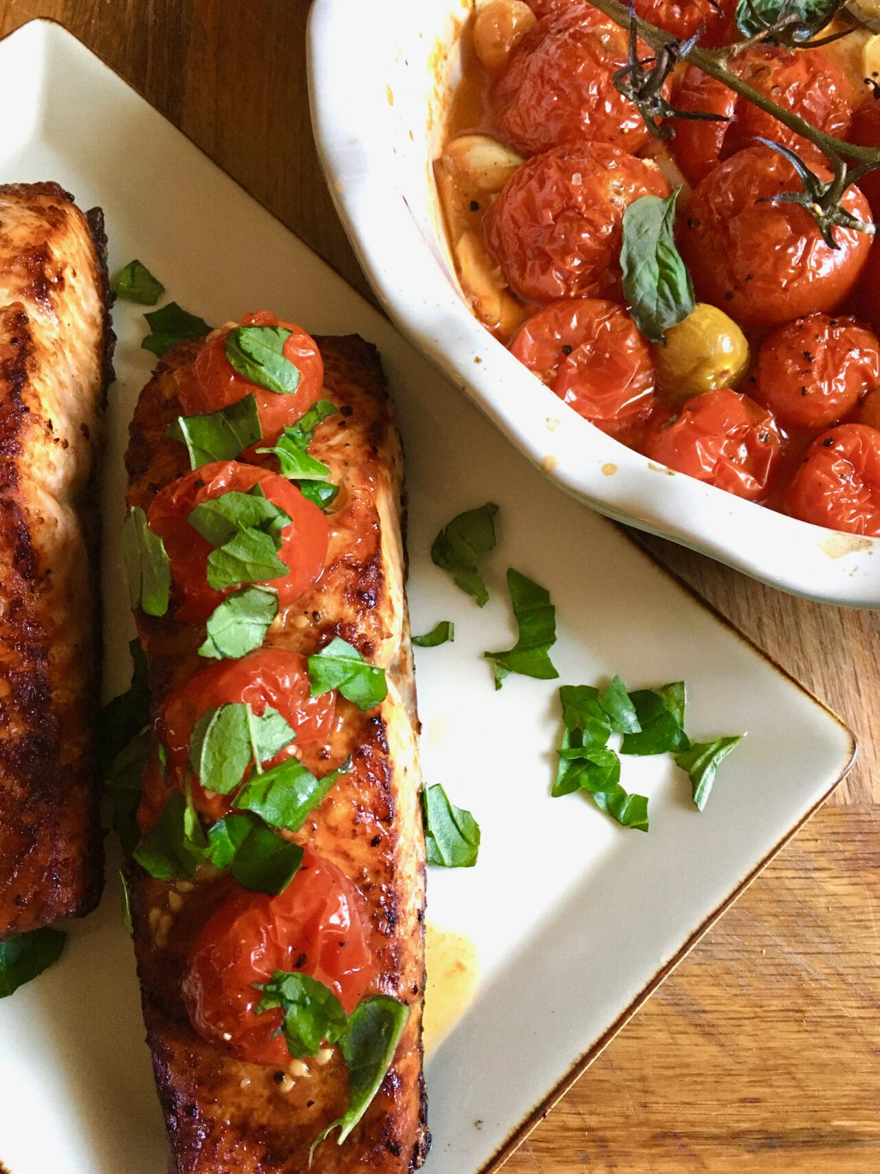 roasted tomatoes over broiled salmon